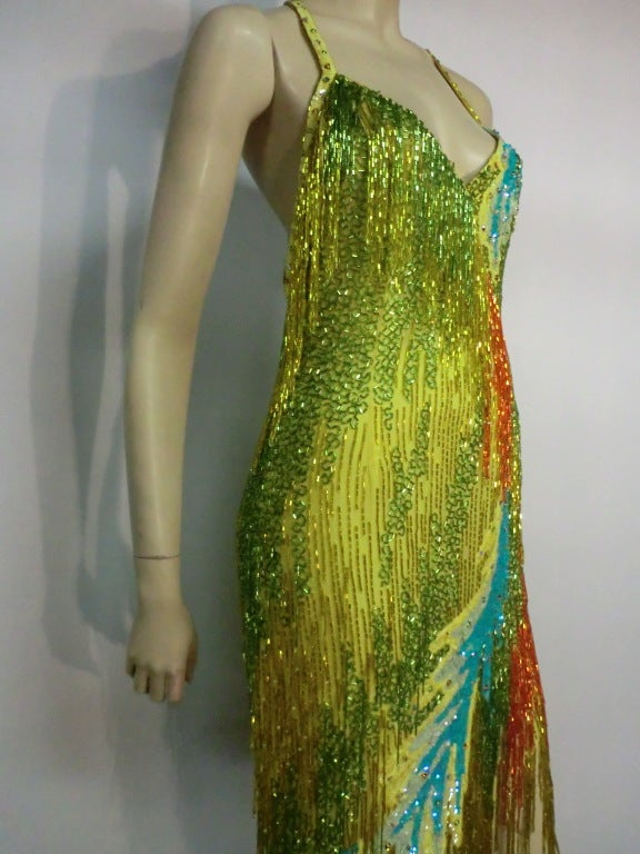 70s Bob Mackie Bead Fringe Silk Dancing Dress w/ Low Racer Back 7