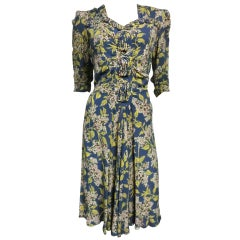 1940s Rayon Crepe Dress with Gorgeous Print and Corded Trim
