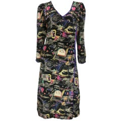 80s Ungaro Side-Button Wrap Dress w/ Novelty Print