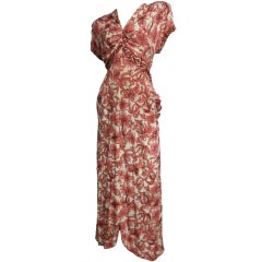 40s Rayon Crepe Floral Print Gown with Bustle Back and Sequins