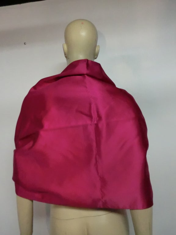 Couture Fuchsia Silk Stole w/ Ostrich Feather Tassels at ...