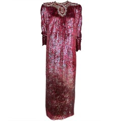 80s Nina Ricci Haute Couture Jeweled Yolk Lamé Velvet Caftan