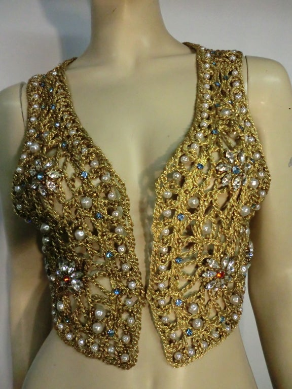 60s Neiman Marcus Gold Braid Openwork Vest w/ Pearls and Stones 2