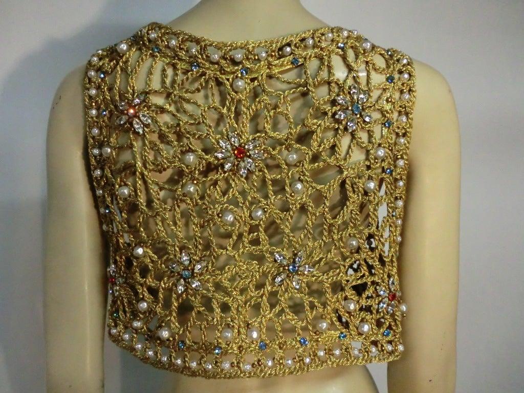 60s Neiman Marcus Gold Braid Openwork Vest w/ Pearls and Stones 5