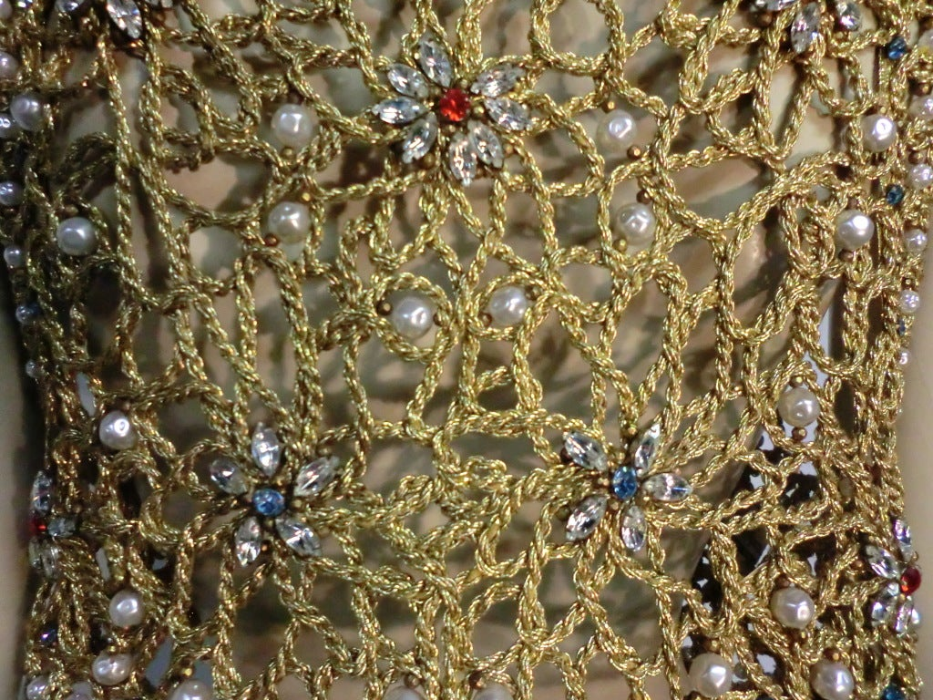60s Neiman Marcus Gold Braid Openwork Vest w/ Pearls and Stones 7