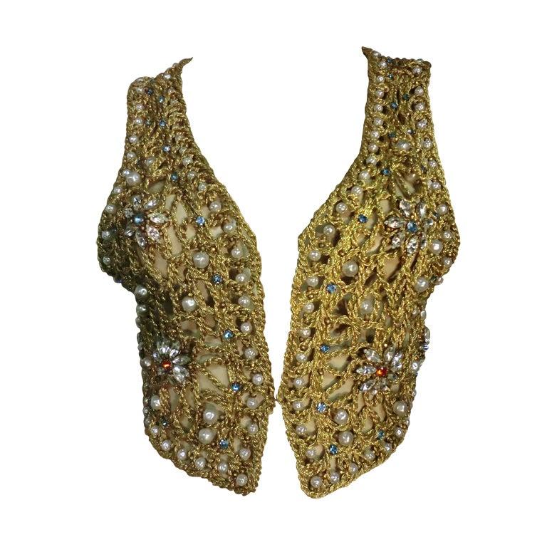 60s Neiman Marcus Gold Braid Openwork Vest w/ Pearls and Stones 1