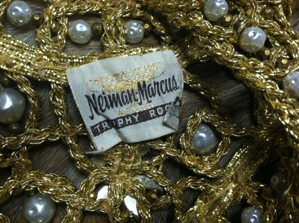 60s Neiman Marcus Gold Braid Openwork Vest w/ Pearls and Stones 9