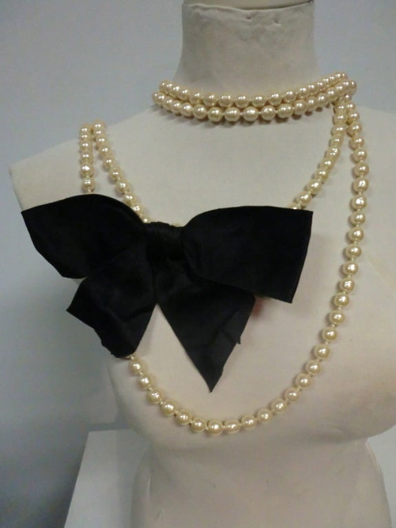 80's Chanel 9 Feet+ Faux Baroque Pearl Strand w/Satin Bow 2