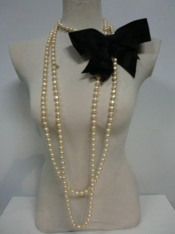 80's Chanel 9 Feet+ Faux Baroque Pearl Strand w/Satin Bow 3