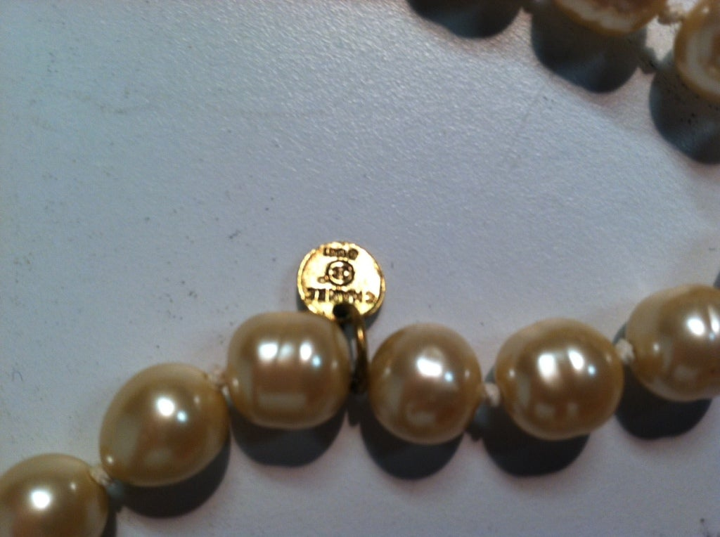 80's Chanel 9 Feet+ Faux Baroque Pearl Strand w/Satin Bow 5