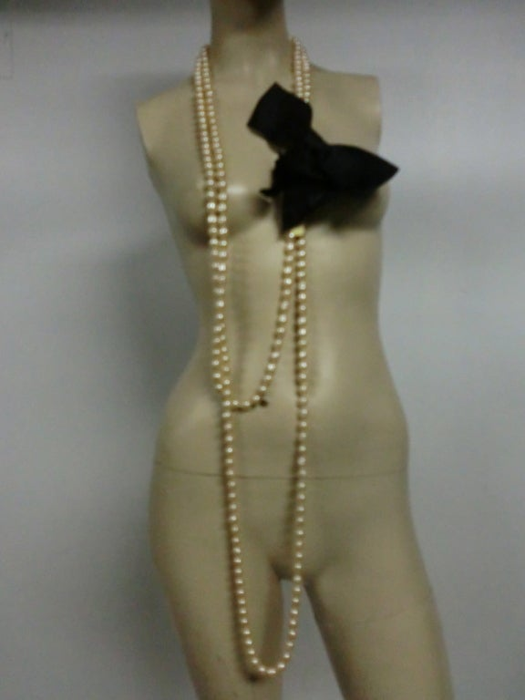 80's Chanel 9 Feet+ Faux Baroque Pearl Strand w/Satin Bow 6
