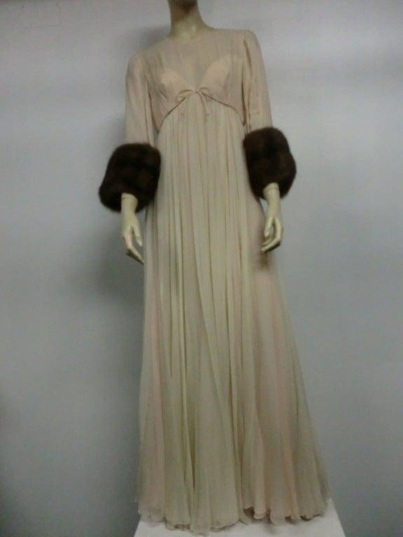 60s Sarmi Silk Chiffon Gown w/ Sable Fur Trimmed Sleeves 2