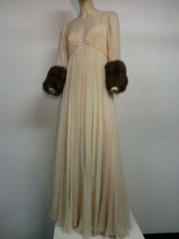 60s Sarmi Silk Chiffon Gown w/ Sable Fur Trimmed Sleeves 3