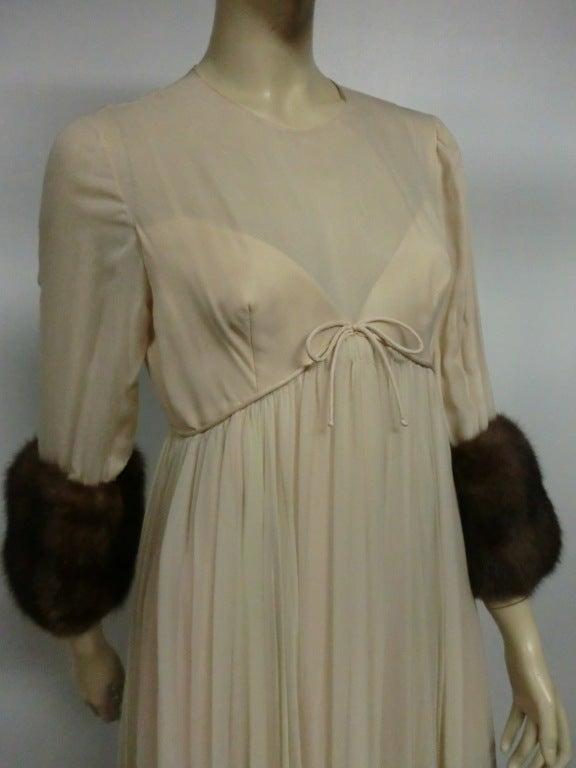 60s Sarmi Silk Chiffon Gown w/ Sable Fur Trimmed Sleeves 4