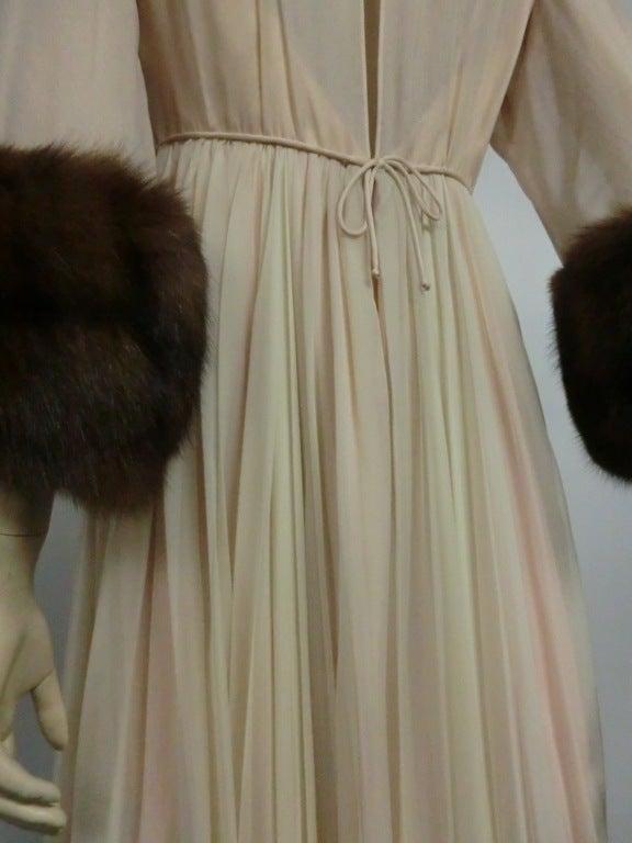 60s Sarmi Silk Chiffon Gown w/ Sable Fur Trimmed Sleeves 5