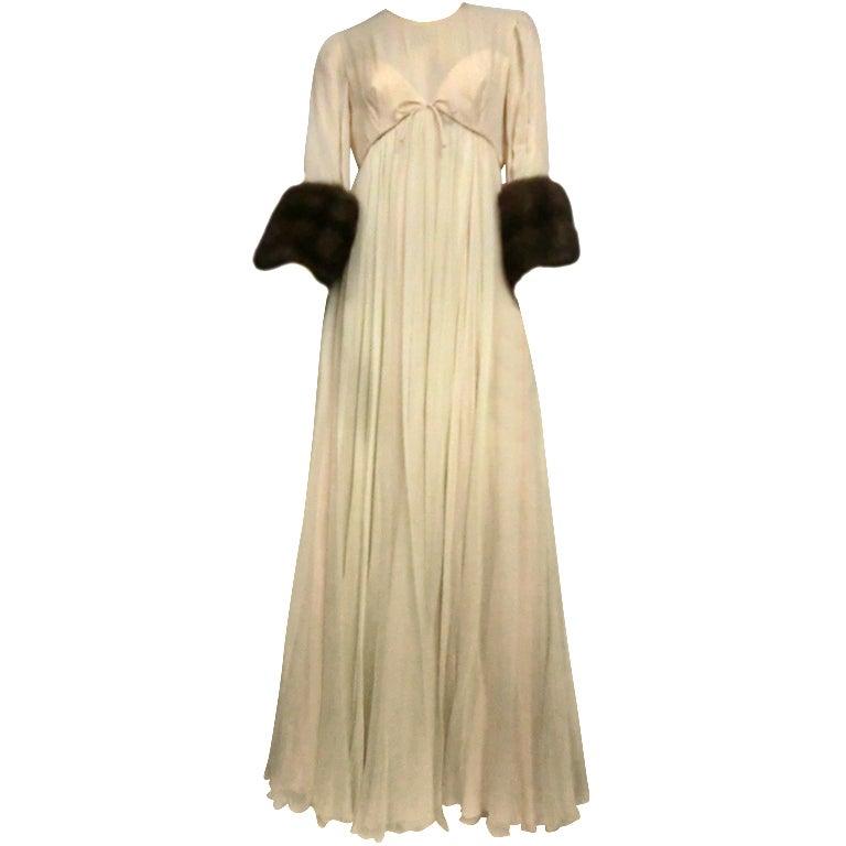 60s Sarmi Silk Chiffon Gown w/ Sable Fur Trimmed Sleeves 1