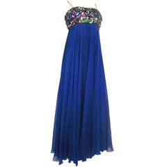 60s Malcolm Star Silk Chiffon Gown w/ Heavily Embellished Bodice