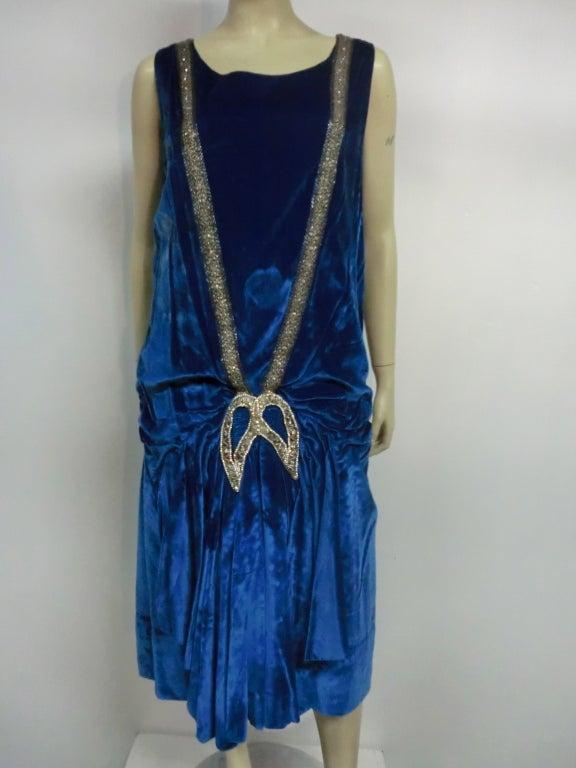 """1920s Gatsby Cobalt Silk Velvet """"Flapper"""" Dress w/ Beading 2"""
