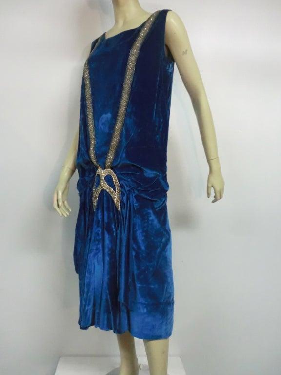"""1920s Gatsby Cobalt Silk Velvet """"Flapper"""" Dress w/ Beading 3"""