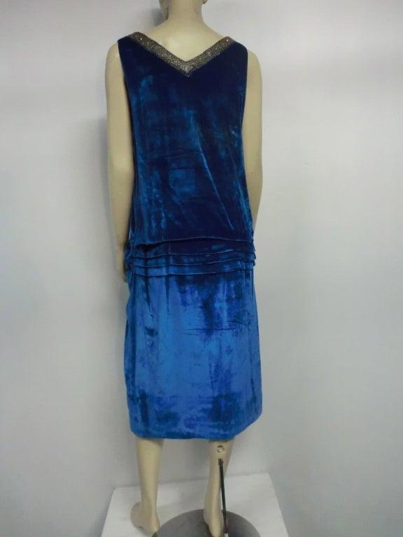 """1920s Gatsby Cobalt Silk Velvet """"Flapper"""" Dress w/ Beading 4"""