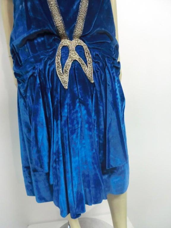 """1920s Gatsby Cobalt Silk Velvet """"Flapper"""" Dress w/ Beading 5"""