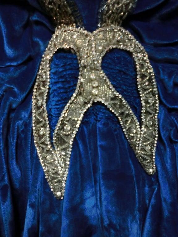 """1920s Gatsby Cobalt Silk Velvet """"Flapper"""" Dress w/ Beading 6"""