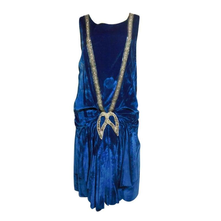"""1920s Gatsby Cobalt Silk Velvet """"Flapper"""" Dress w/ Beading 1"""