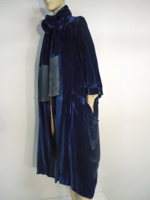 "1920s ""Gatsby"" Style Silk Velvet Cocoon Evening Cape w/ Fringe image 3"
