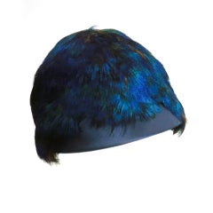 50s Peacock Feather and Silk Satin Juliette Style Evening Hat