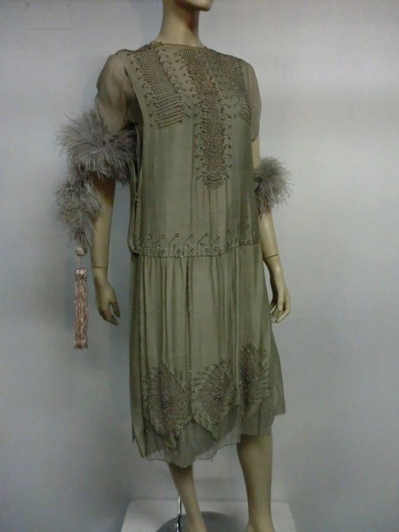 "1920s ""Gatsby"" Style Silk Chiffon ""Flapper"" Dress w"