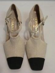 Chanel Linen Cap-Toe Ankle Strap Spectator Summer Shoes