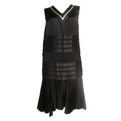 20s Satin Black and White Pleated Tea Dress
