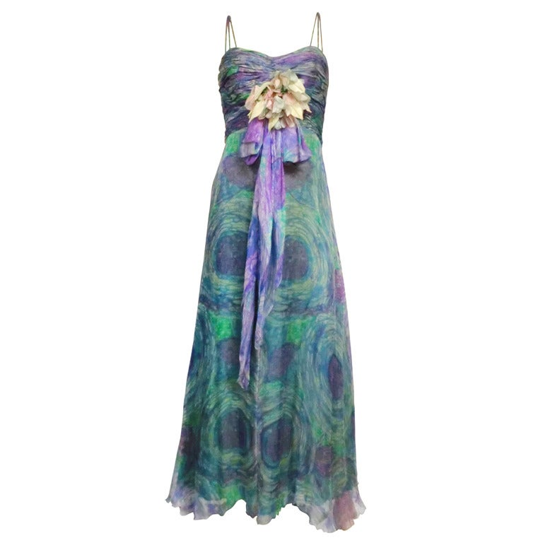 1960s Michael Novarese Watercolor Silk Chiffon Gown w/ Corsage