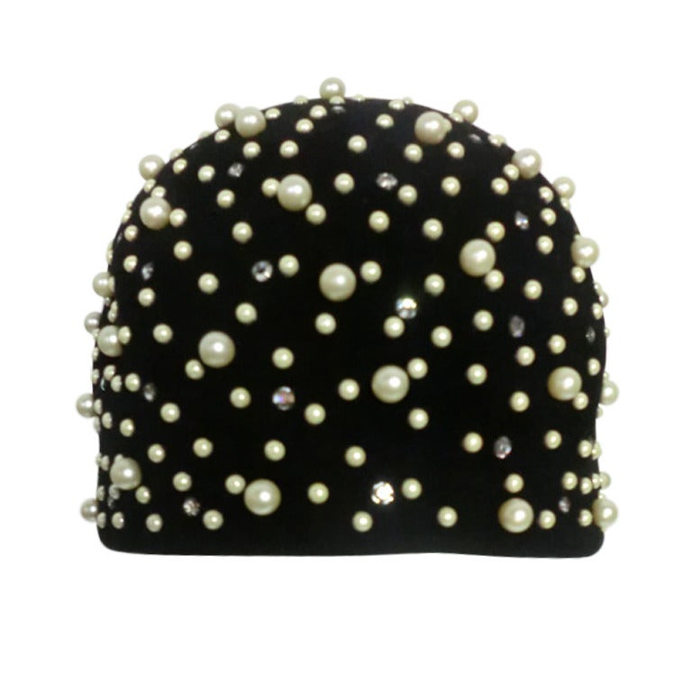 60s Felt Bubble Cloche with Rhinestones and Faux Pearls For Sale