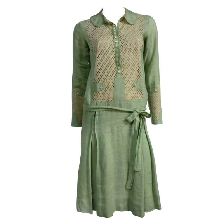 1920s Quot Gatsby Quot Style Mint Green Linen Day Dress W Eyelet