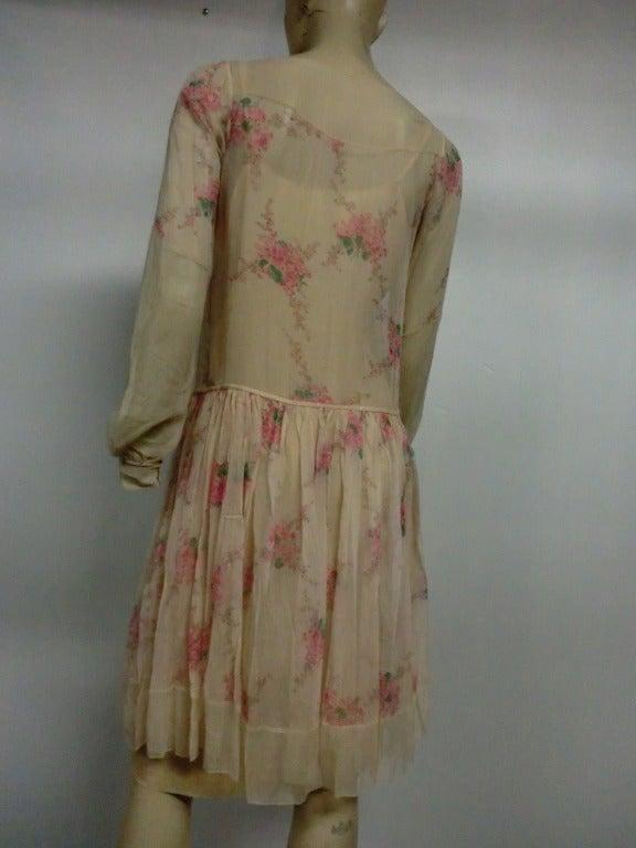 1920s Silk Chiffon Floral Print Tea Dress W Dropped Waist