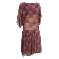 "1920s ""Gatsby"" Style Art Deco Print Silk Chiffon Tea Dress"