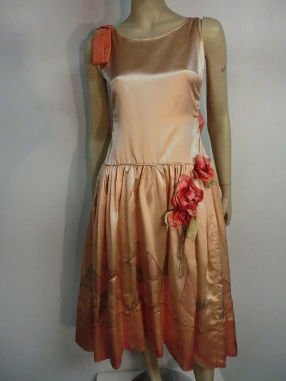 "1920s Silk Satin Art Deco Painted ""Gatsby"" Cocktail Dress 2"