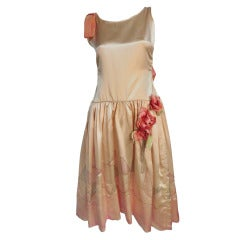 "1920s Silk Satin Art Deco Painted ""Gatsby"" Cocktail Dress"