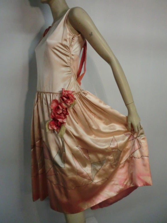 "1920s Silk Satin Art Deco Painted ""Gatsby"" Cocktail Dress 4"