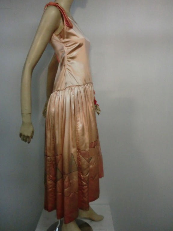 "1920s Silk Satin Art Deco Painted ""Gatsby"" Cocktail Dress 5"