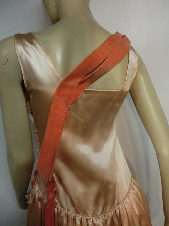"1920s Silk Satin Art Deco Painted ""Gatsby"" Cocktail Dress 6"