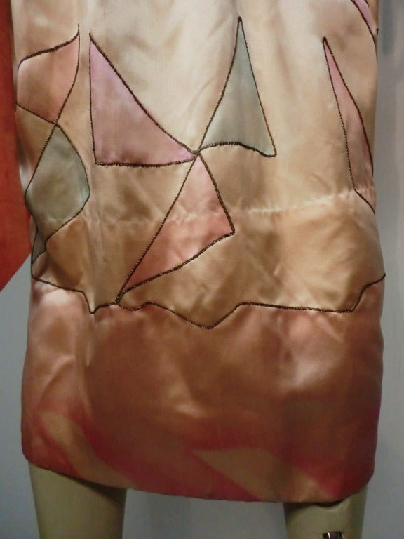 "1920s Silk Satin Art Deco Painted ""Gatsby"" Cocktail Dress 7"