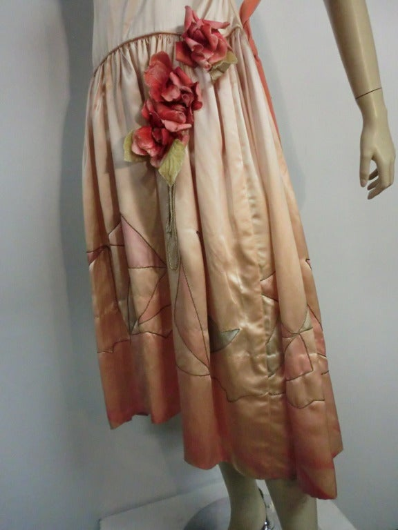 "1920s Silk Satin Art Deco Painted ""Gatsby"" Cocktail Dress 8"