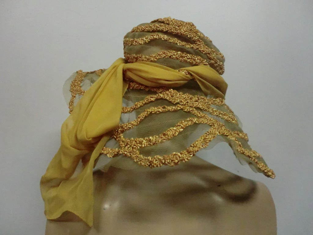 "1920s Straw and Horsehair Braid ""Gatsby"" Hat w/ Silk Chiffon image 3"
