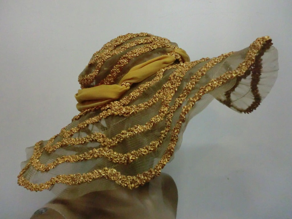 "1920s Straw and Horsehair Braid ""Gatsby"" Hat w/ Silk Chiffon image 4"