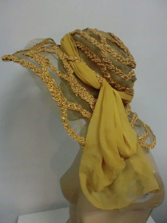 "1920s Straw and Horsehair Braid ""Gatsby"" Hat w/ Silk Chiffon image 5"