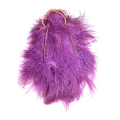 "1920s Ostrich Feather ""Fan"" Evening Bag in Fuchsia"