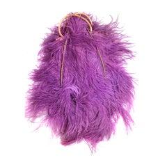 "1920s Ostrich Feather ""Fan"" Evening Bag in Fuchsia"