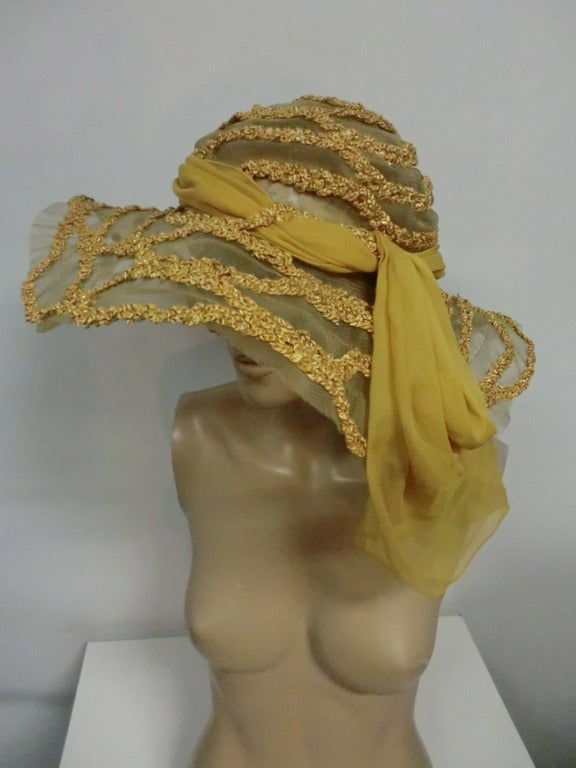 "1920s Straw and Horsehair Braid ""Gatsby"" Hat w/ Silk Chiffon image 2"